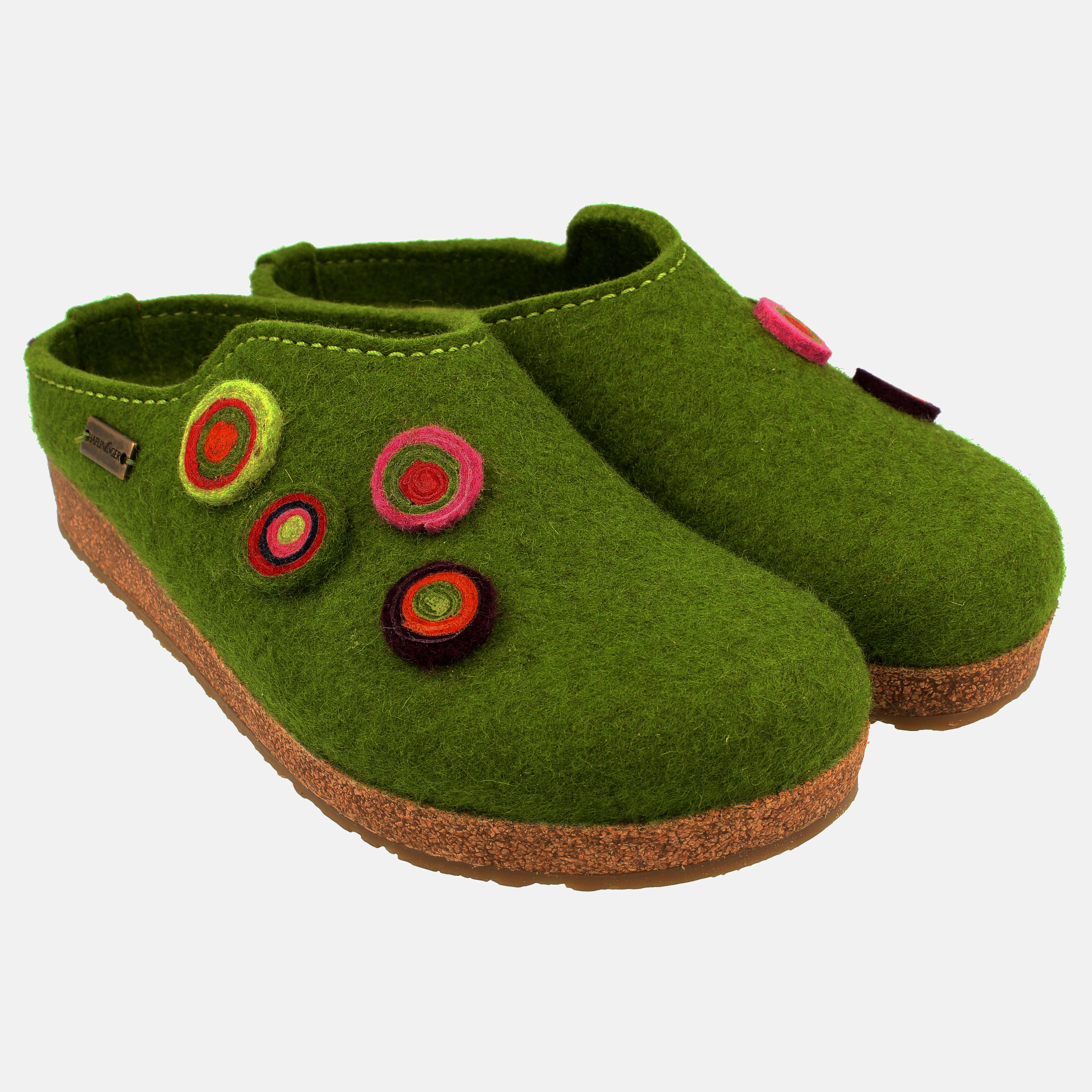 Haflinger Filztoffel GRIZZLY KANON Hausschuhe grasgrün grün Wollfilz 731023 NEU