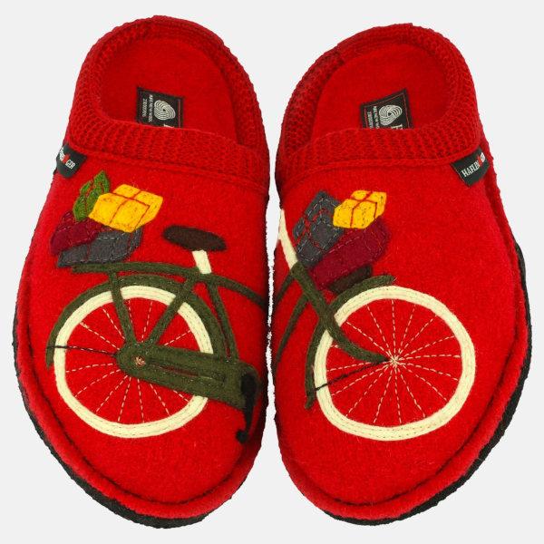 Rote Winterhausschuhe für Damen mit Rad-Motiv